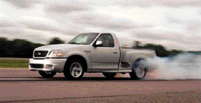 Hammer it, and you'll kill your fuel economy. But there's more to the story than than. Ford SVT Lightning shown burning it up.