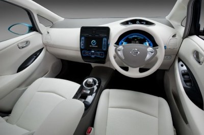 Interior of the Nissan Leaf electric car. Photo: Nissan.