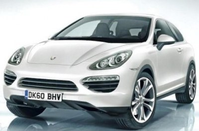 2013 Porsche Cajun is a new small SUV announced in November 2010. It is anticipated to be a two-door model like this mockup. Photo courtesy Auto Express.