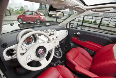 Colour-coordinated dash panel makes the interior feel wider than it really is. The Fiat 500 is a small car with a small price tag. It also makes an interesting style statement.