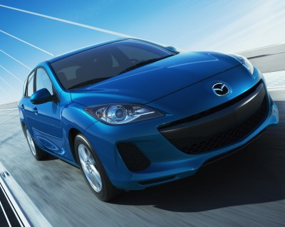 2012 Mazda3 Skyactive (front view). The subtle beauty of the Mazda3 Skyactiv is an upgraded substructure with framerails that have fewer right angles so there's less deflection under stress. Basically, the new design is more rigid.