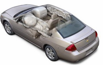 Front and rear side curtain air bags are standard safety features in the 2006 Chevrolet Impala.