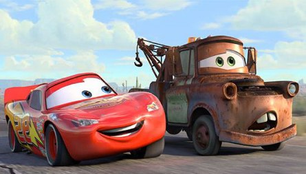 Image courtesy Pixar Animation Studios/Walt Disney Pictures. Cars the movie features an assortment of animated cars.