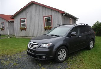 2008 Subaru Tribeca shows off nicely at Ocean Mist Cottages at Lockeport on the south shore of Nova Scotia. If you plan to visit the area, CarTest.ca highly recommends staying here -- the cottages are well built, meticulously maintained, and managed by a friendly, exuberent host, Bill Crosby. For details, visit www.oceanmistcottages.ca.