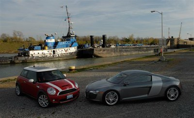 Audi R8 and 2008 Mini Cooper S at the Welland Canal for TestFest 2008. Photo courtesy AJAC/Arne Glassbourg.