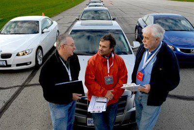 AJAC members (L-R) Jeremy Sinek, Marc Lachapelle and Gerry Malloy take a break during performance testing at TestFest 2008. Photo courtesy AJAC/Arne Glassbourg.